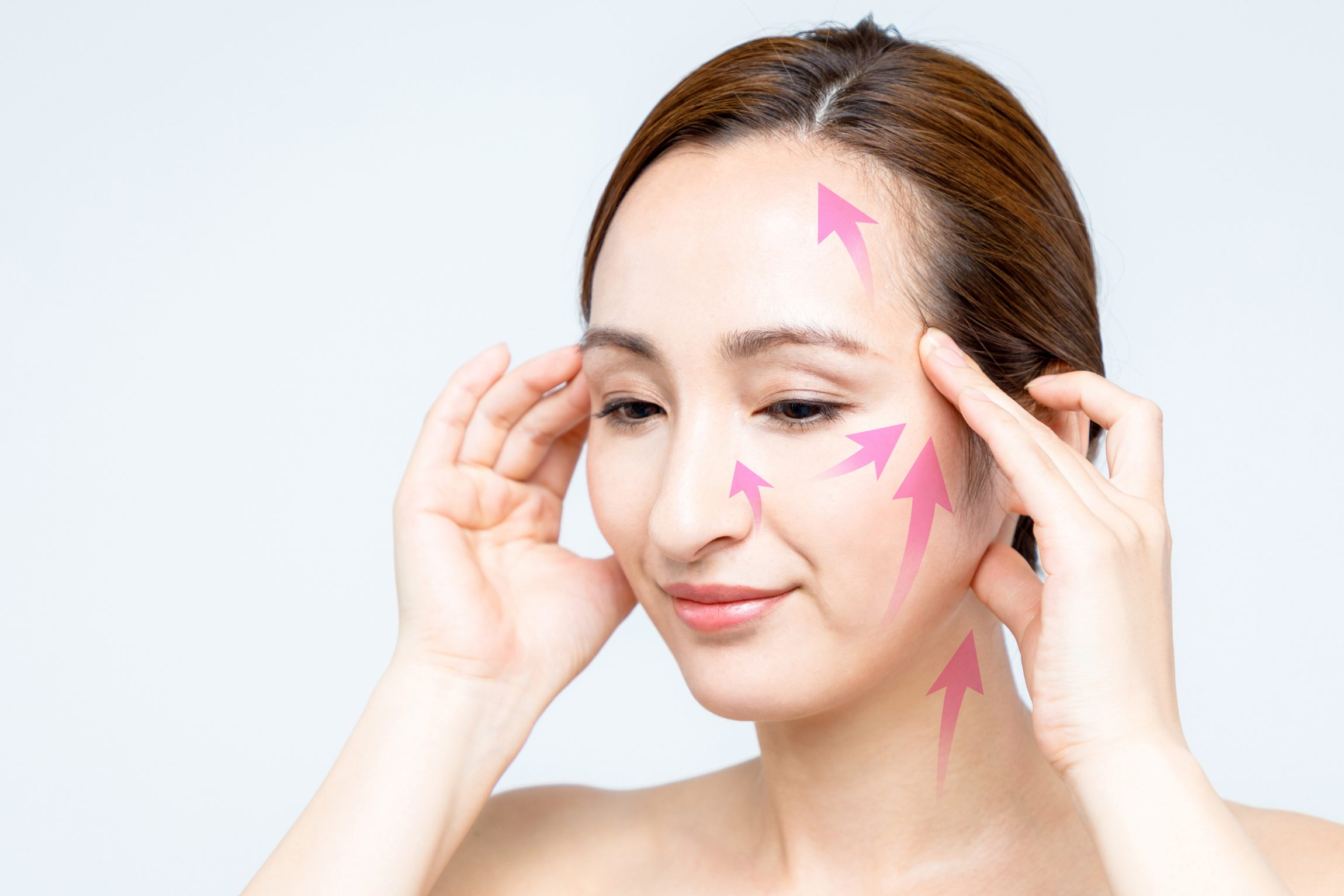 face lift up massage. women's beauty concept.